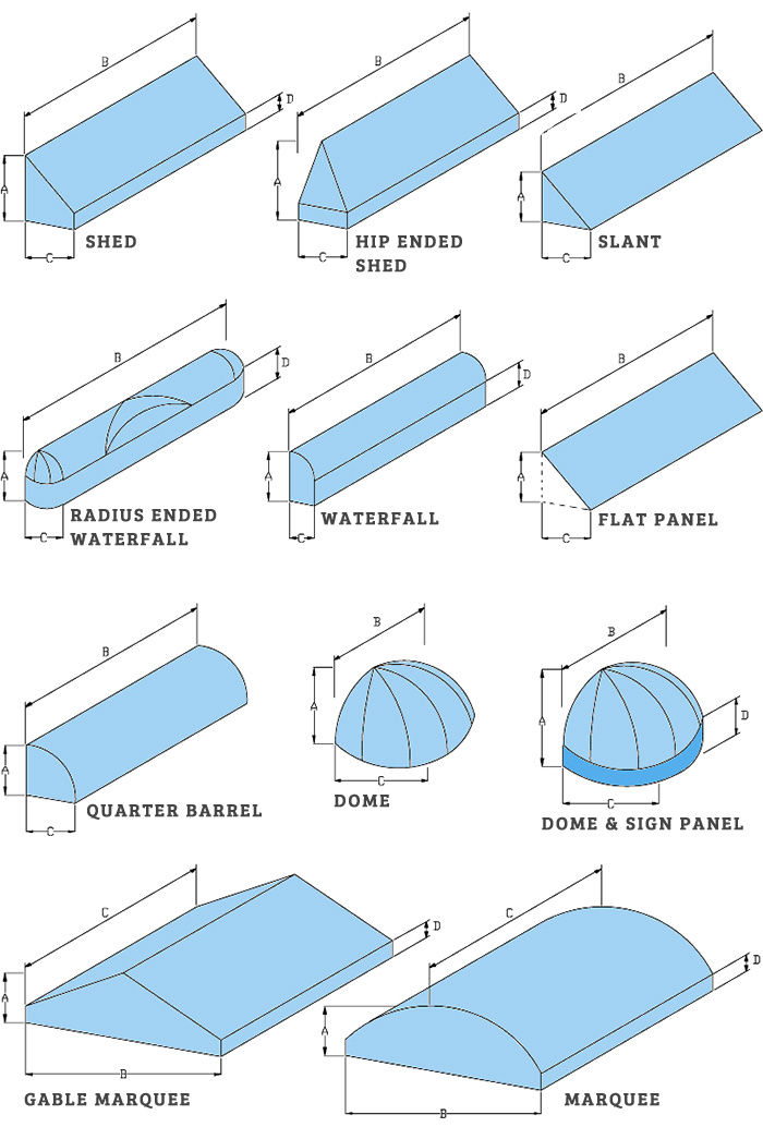 Awnings of Many Shapes and Sizes